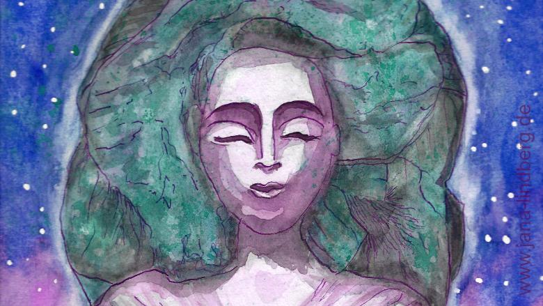 Gemälde von Jana Lindberg, eine Träumerin mit geschlossenen Augen